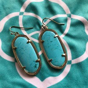 KS Turquoise smaller shape gold earrings